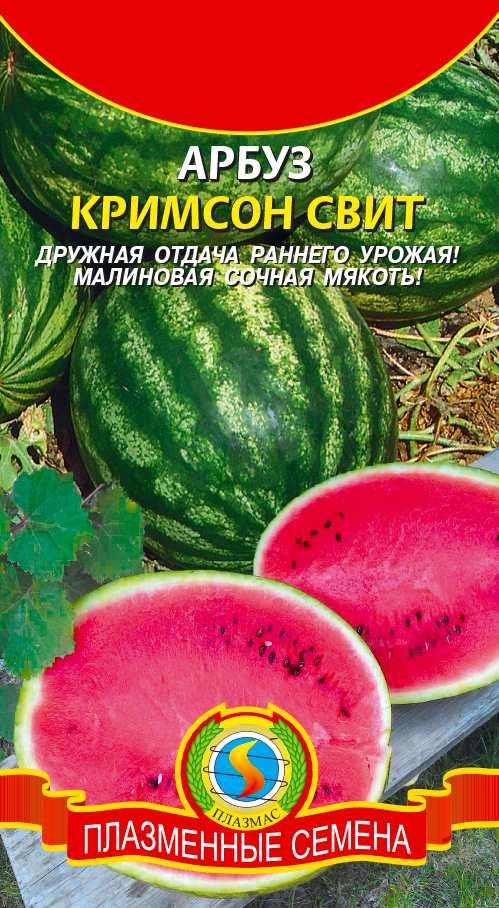 Сорт арбуза - КРИМСОН СВИТ. Наиболее популярный среди арбузной культуры. Плоды не такие крупные, в большинстве случаев, средних размеров, созревают за 68-73 дня, массой около 5 кг. Урожай созревает неравномерно, поэтому бахчу убирают выборочно, по мере созревания. Кожура гладкая, форма кругло-овальная, мякоть яркая красная, средней сладости.